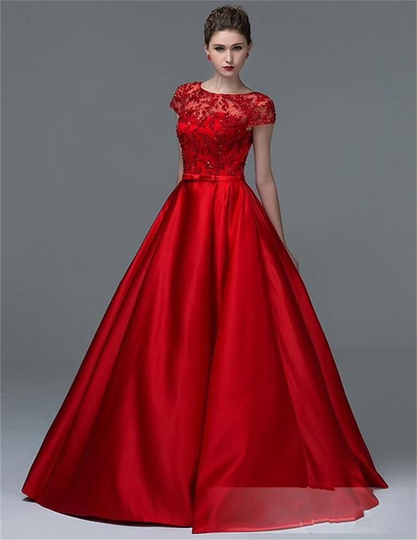 2015 New Design Red Satin Ball Gown Evening Dress Prom Dress with ...