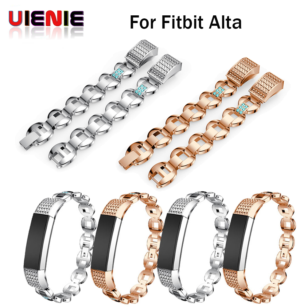 UIENIE Genuine Stainless Steel band with Rhinestone Watch Band Wrist Strap For Fitbit Alta smart Watch High Quality accessories