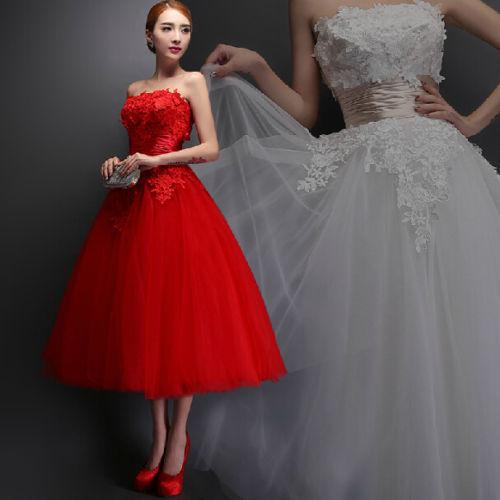 Tea Length Red Bridesmaid Dress