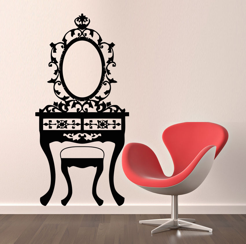 Visual Toilet Table Pattern Wall Decals Mirror Sticker ...