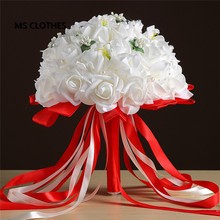 2017 White Red Big Wedding Bouqet for Brides with Silk Ribbon Crystals bouquet de noiva artificial Bridal bouquet de mariage