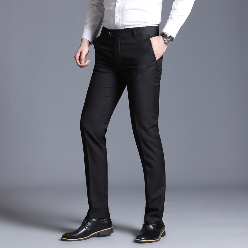 Spring autumn solid color suit pants men's business casual fashion straight stretch suit pants slim slim