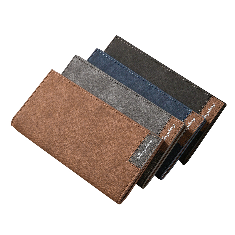 Long Simple designer Mens soft leather wallet with hasp Man slim purse card holder 4 colors