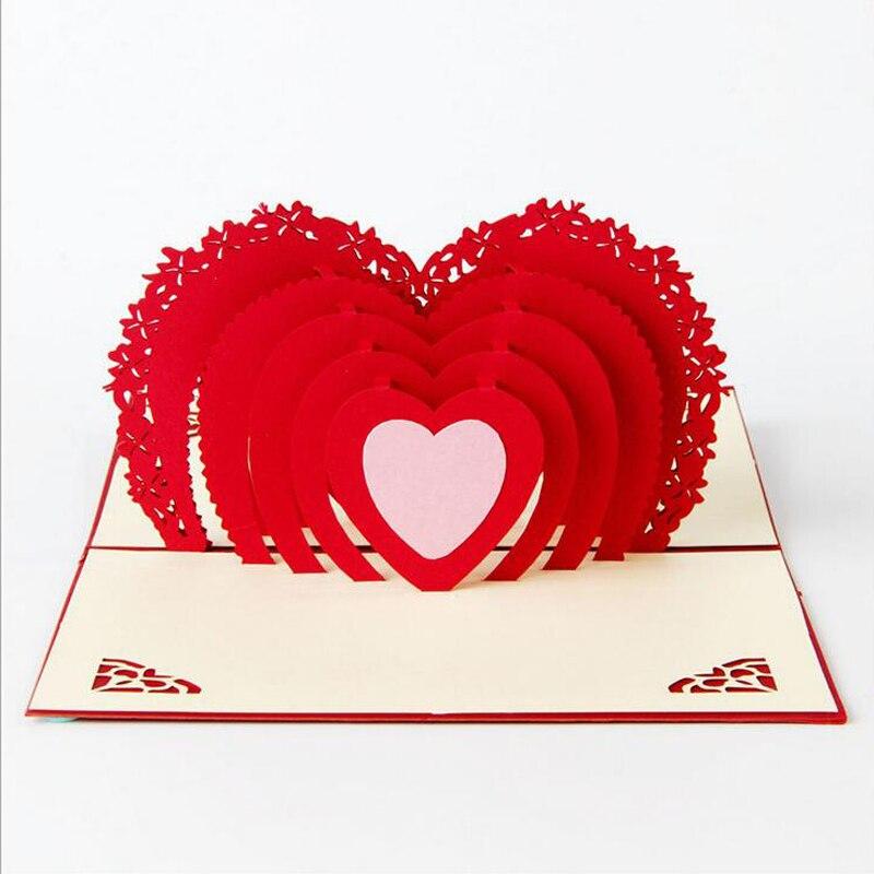 3d greeting cards thank you card handmade pop up heart