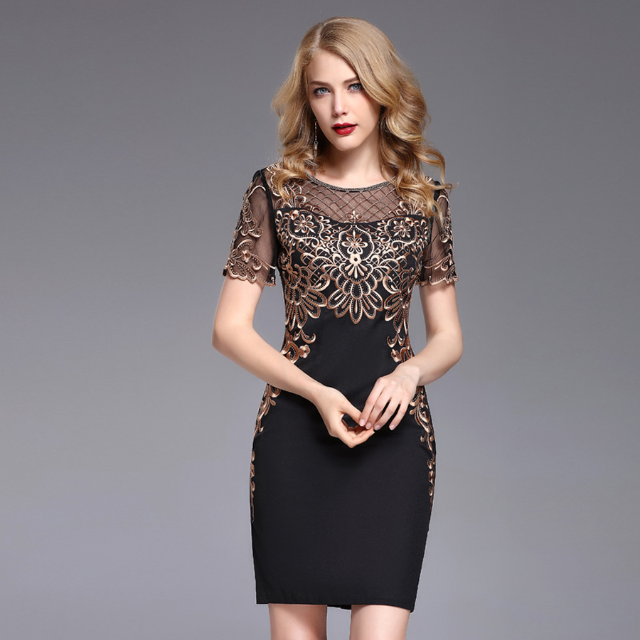 Sexy Women Fashion Dresses 2019 New O Neck Short Sleeve Gold Line Embroidery Patchwork Black European