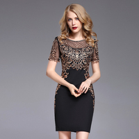 Sexy Women Fashion Dresses 2019 New O Neck Short Sleeve Gold Line Embroidery Patchwork Black European Style Mini A Line Dress