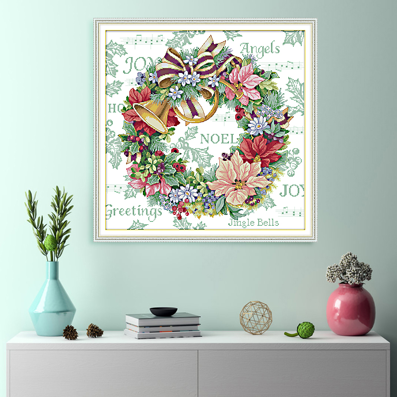 Joy Sunday Holiday Wreath Cross Stitch Patterns Aida 14CT 11CT Printed Canvas For Embroidery Stitch DIY Needlework Paintings DMC