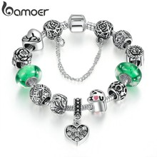 BAMOER Silver Color Green Glass Beads Safety Chain Snake Clasp Heart Pendant Charms Bracelet Women Ethnic Jewelry PA1899(China)