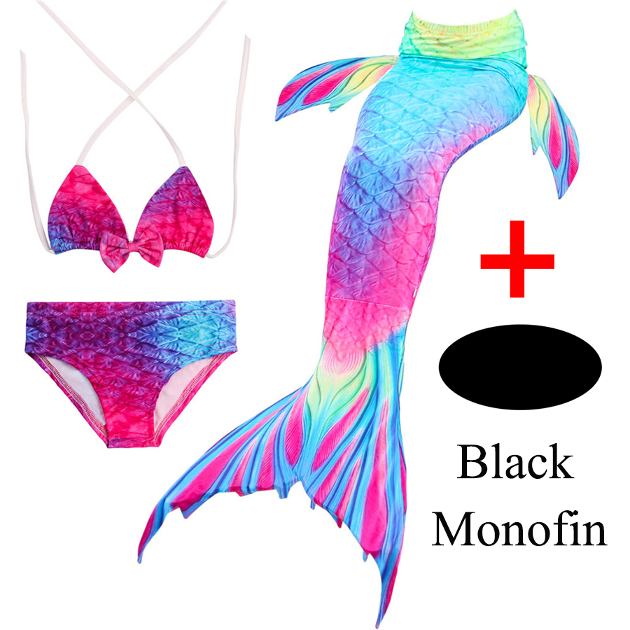 Girls Mermaid Tail with Flipper Children Bikini Swimsuit Cosplay Swimming Fins Kids Swimmable Mermaid Princess Costume & Monofin блуза love republic love republic lo022ewpdn44