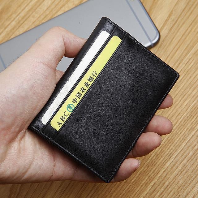 LANSPACE  Brand men's genuine leather credit card case ultra thin slim card case