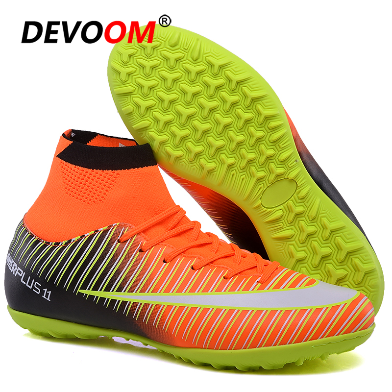 Turf Indoor Black Men Soccer Shoes voetbal Training Football Boots High Ankle Man Sport Sneakers Soccer Cleats chaussure de foot image