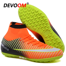 Turf Indoor Black Men Soccer Shoes voetbal Training Football Boots High Ankle Ma
