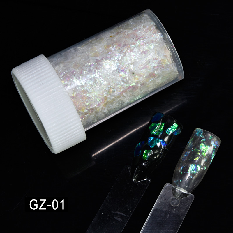 1Box Fluorescent Glass Paper Nail Flakies Irregular Paillette Nail Art Glitter Sequins Flakes GZ01 03 in Nail Glitter from Beauty Health