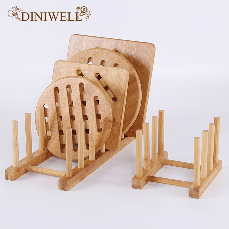 DINIWELL Bamboo Dish Rack Dishes Drainboard Drying Drainer Storage Holder Kitchen Cabinet Organizer For Dish Plate Bowl Pot Lid