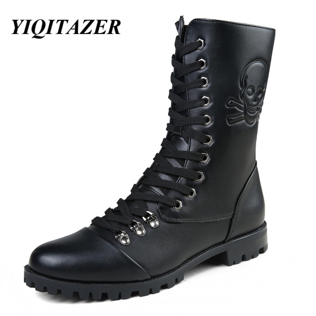 YIQITAZER 2017 Winter Military Boots Man Shoes,Designer Lace up Mens Martin Boots Waterproof Oxfords Motorcycle Cowboy Boots Man
