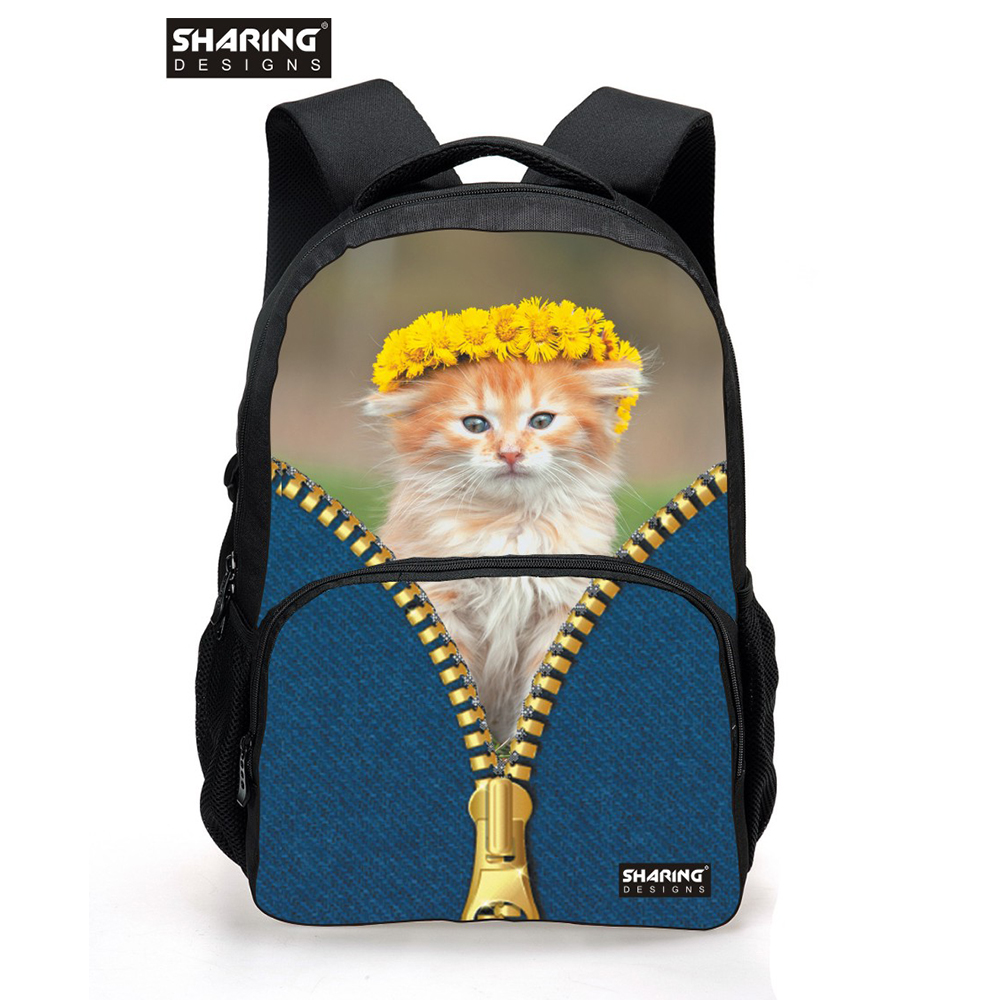 Korean Style 3D Women Backpack Cute Cat Head School Backpacks for Girls Shoulder Daypack for College Students Campus Back Pack