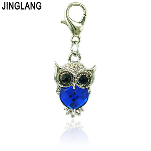 Image 3 - JINGLANG Wholesale Price Owl Lobster Clasp Charms Plastic Crystal Animal Pendants DIY Charms For Jewelry Making Accessories