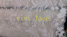 5yards HZ009 sequin paillette tulle french offwhite embroidery  lace fabric for wedding/evening dress/party