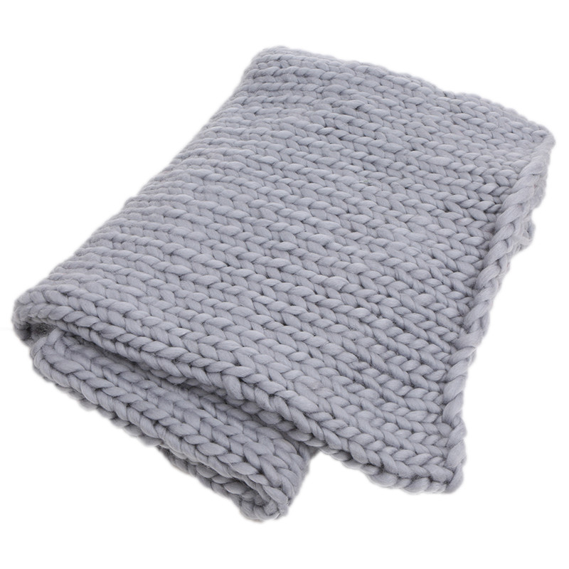 Super Chunky Hand Knit Throw Blanket Crochet Warm Thick Bulky Knitted Soft Sleek Big Sofa Living Room Handwoven Home Textile P m