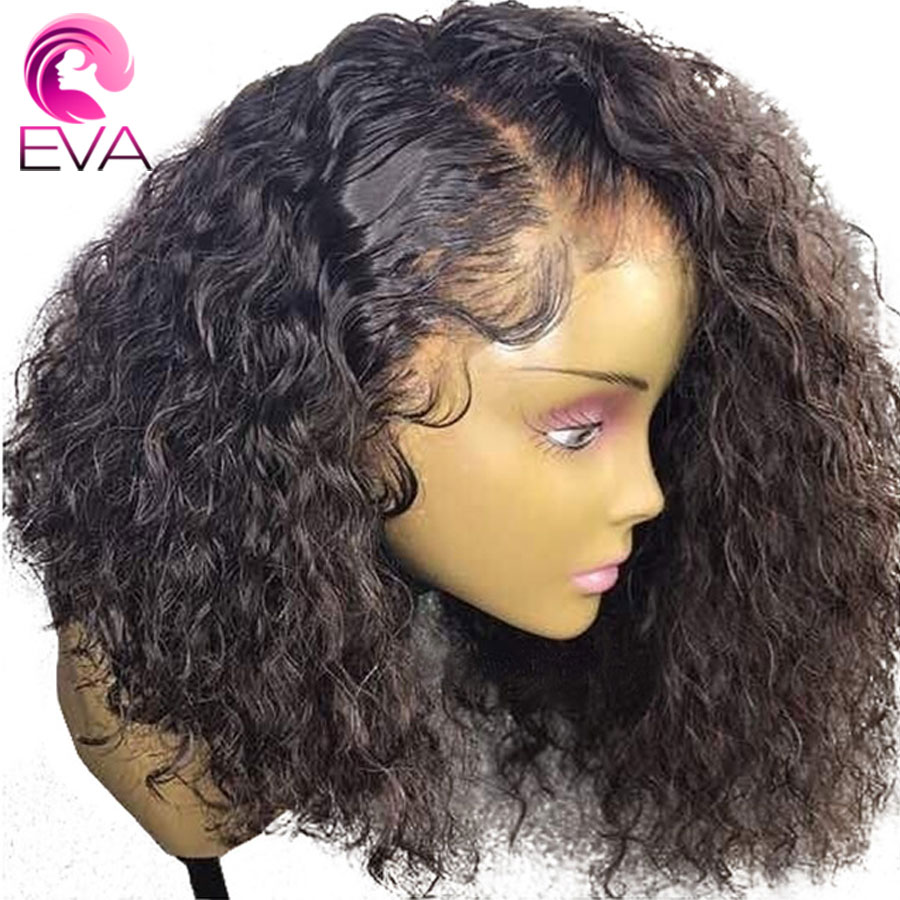 Eva Hair Curly 360 Lace Frontal Wig Pre Plucked With Baby Hair Brazilian Remy Short Lace Front Human Hair Bob Wigs For Women