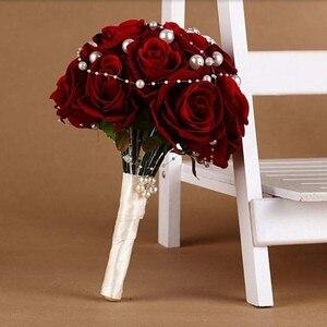 Image 3 - 花ブライダルブーケ faybox 赤ローズカスタム人工結婚式のブーケラインストーンパールブライダルブーケウェディング
