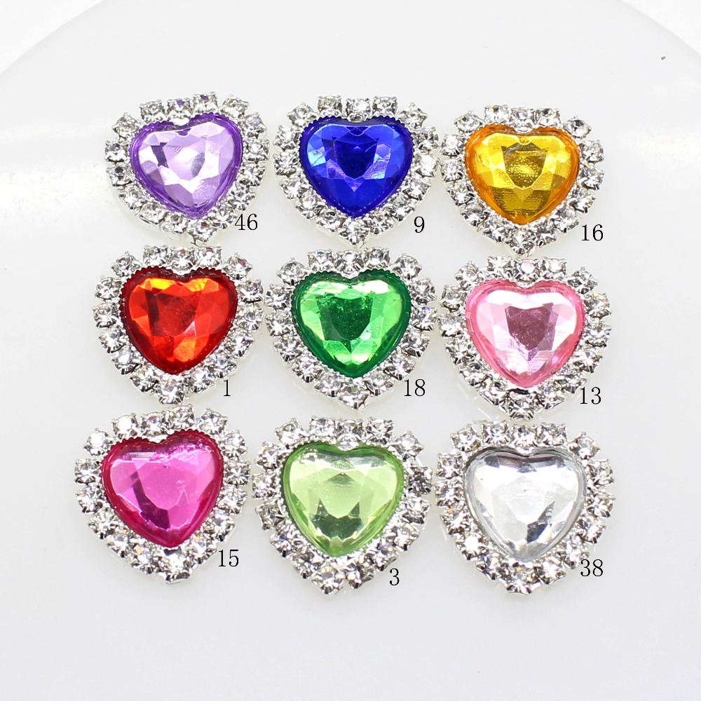 New Hot 10Pcs 16mm Heart Acrylic Diy Jewelry Accessories Rhinestones Pedestal Embellishments Caps Decoration For Making MIX