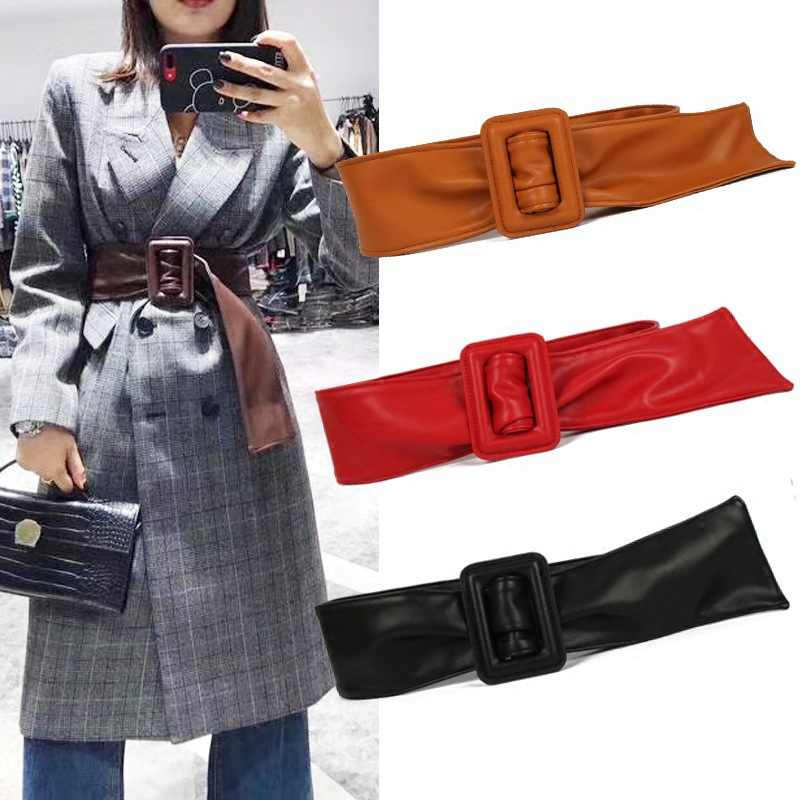 Square Buckle Belt Leather Wide Belts For Women Femme Of Marque Luxe Waistband Decorate Dress Coat Sweater Belt Waist Seal