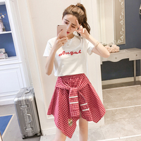 KAVISSO Women Summer Set Of Clothes T Shirt Top Skirt Set 2018 Female Streetwear Irregular Tie