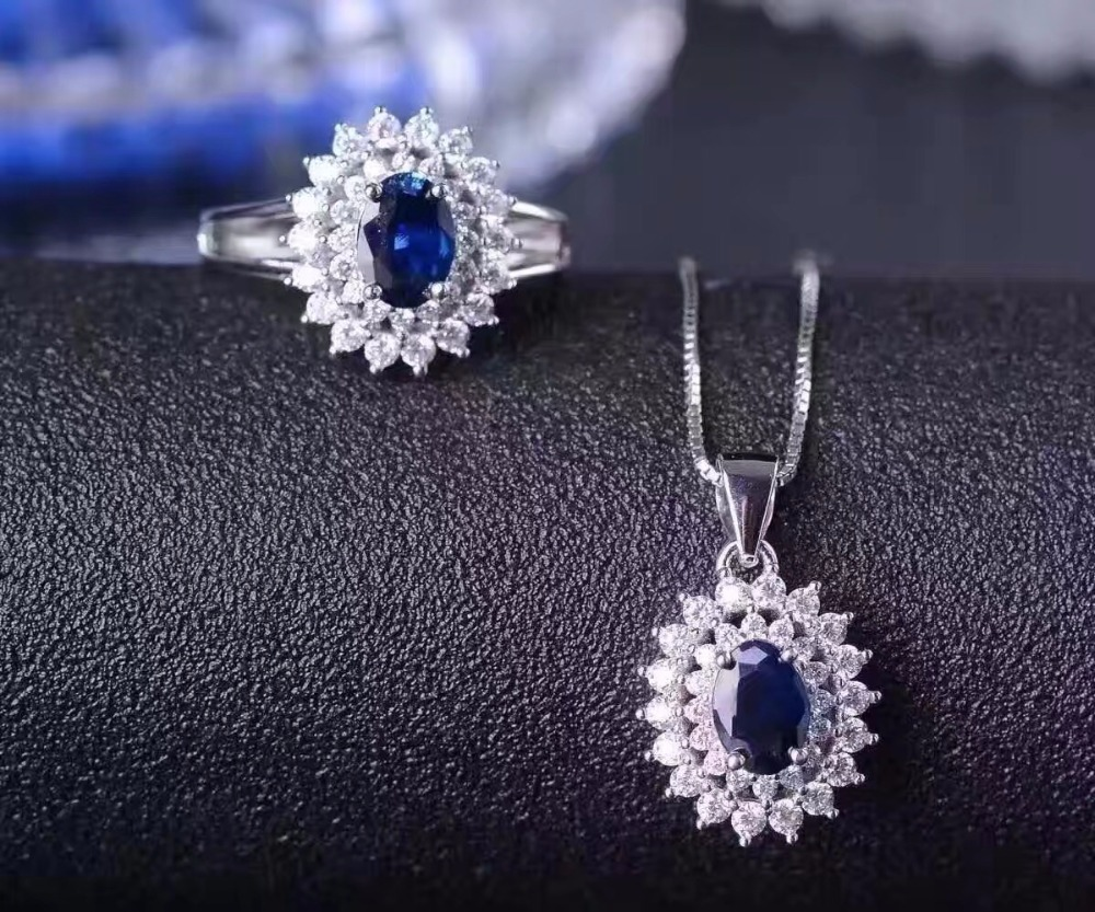 Classic Style Natural Sapphire Set, 925 Silver, Simple Dark Blue, 1 Carat Gem, Chinese Mining Area SapphireClassic Style Natural Sapphire Set, 925 Silver, Simple Dark Blue, 1 Carat Gem, Chinese Mining Area Sapphire