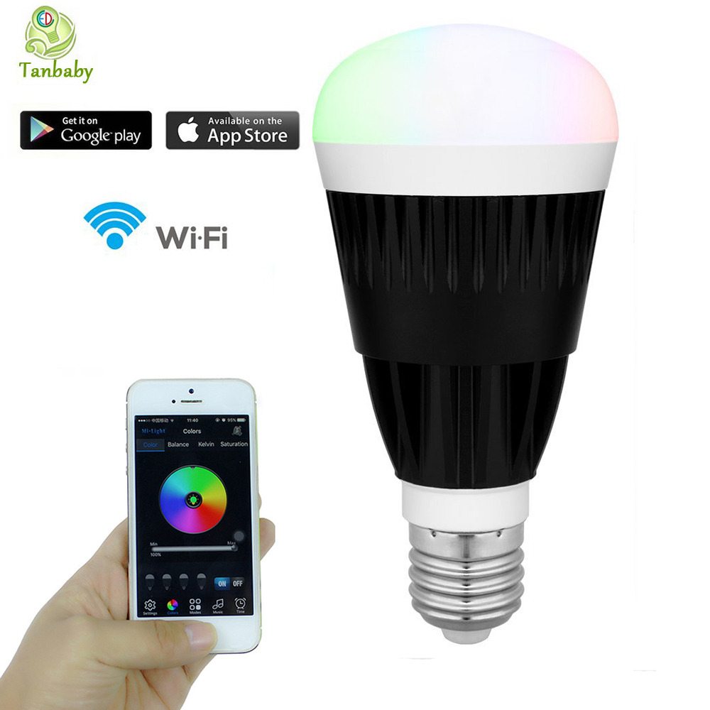 ФОТО Tanbaby Wifi Led Bulb E27 10W RGB + White color temerpature Changeable Smart dimmable  lighting led for iPhone Android Phones