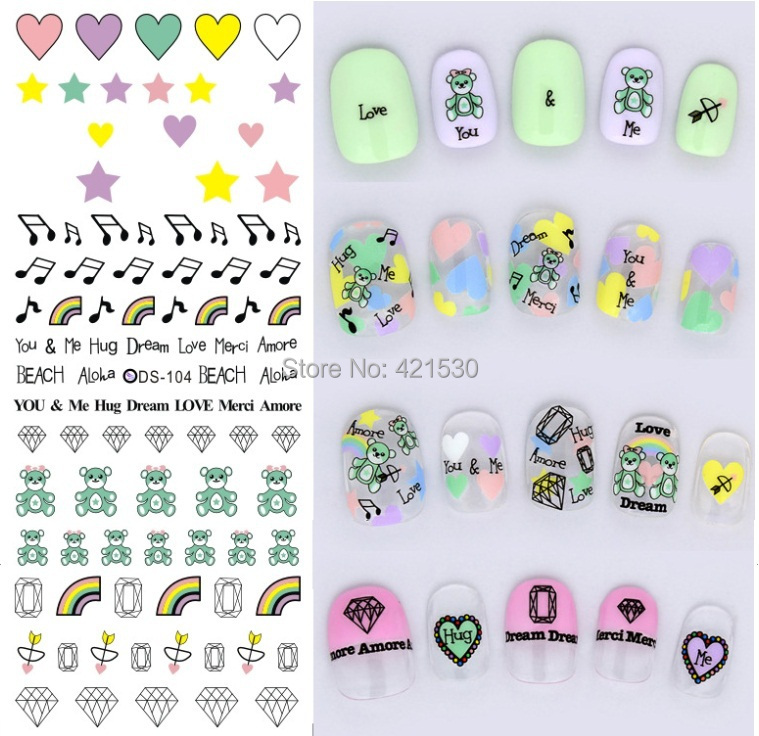 korean black white nail stickers cartoon nail patch art wraps heart ...