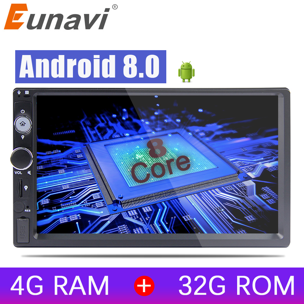 Eunavi 2 Din 7 inch Octa core Universal Android 8.0 4G RAM Car Radio PC Stereo GPS Navigation WiFi 1024*600 Touch Screen USB BT kanor octa core android 7 1 2 32g 1024 600 2din car radio for nissan juke 2004 2012 in dash 2 din car gps navigation wifi usb