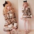 Casaco lolita doce princesa real bobon 21 xadrez arco bola de pêlo de coelho pele gola de lã casaco outerwear c0732