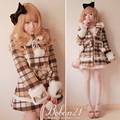 Sweet lolita coat princess royal bobon 21 plaid bow rabbit fur ball fur collar woolen overcoat outerwear c0732