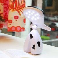 0 8W 12 LED Lovely Cartoon Cow Desk Lamp Cute Rechargeable Table Night Light AC Charging