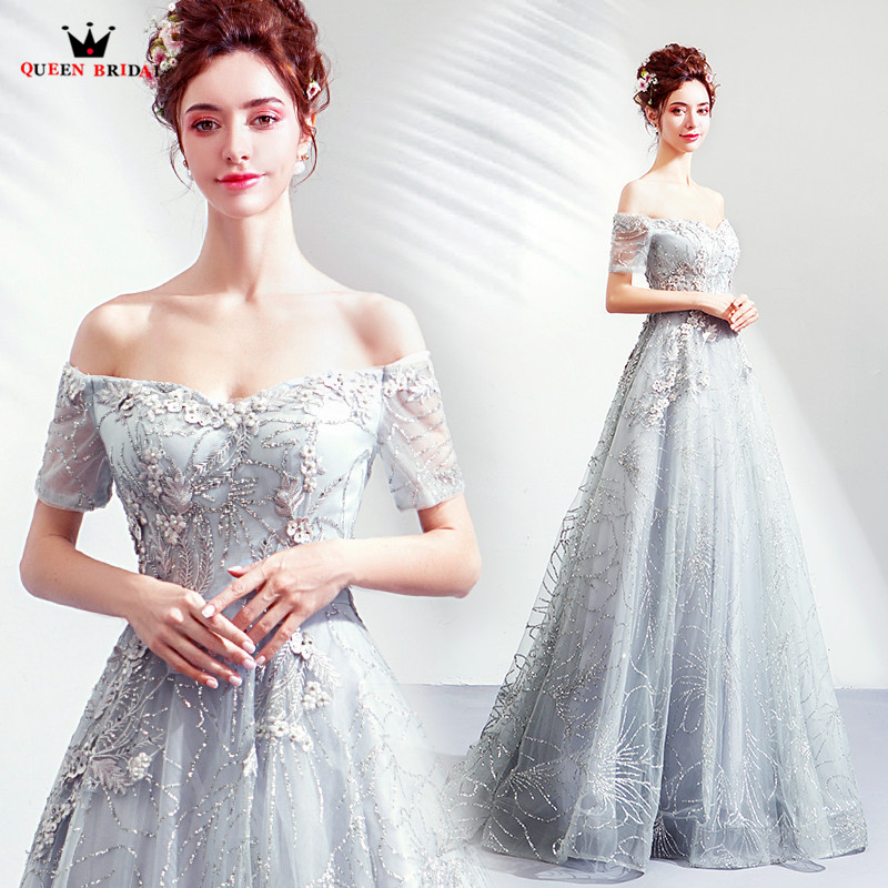 2020 New Fashion Evening Dresses A-line Short Sleeve Lace Beading Beading Gray Luxury Evening Gowns Formal Dress JK41