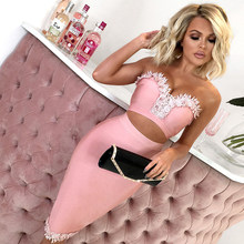 ADYCE 2019 New Summer Women Bodycon Bandage Sets Dress Vestidos 2 Two Piece Set Strapless Top Celebrity Evening Lace Party Dress(China)