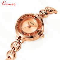 KIMIO Unique Bracelet Strap Shine Glass Decorated Dial Roman Scale Woman Watches 2016 Brand Luxury Women