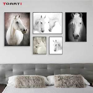 Image 1 - HD נורדי חיות כרזות הדפסי מודרני סוס בד ציור על קיר לסלון חדר שינה בית תפאורה שחור אמנות תמונות