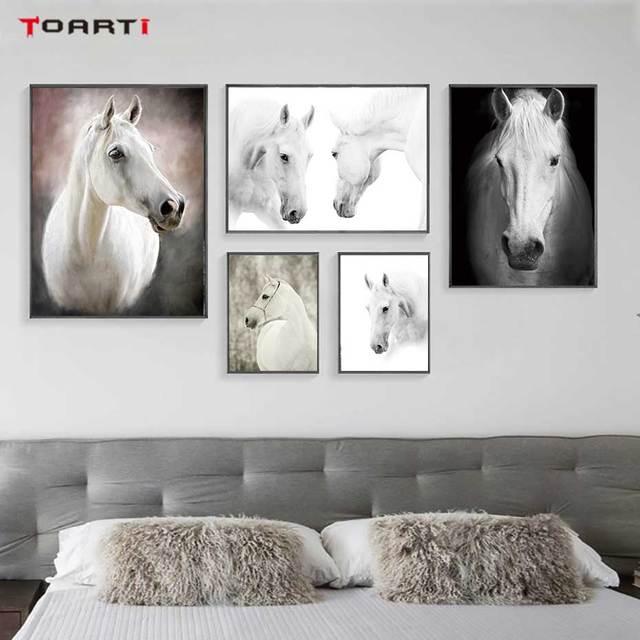 HD נורדי חיות כרזות הדפסי מודרני סוס בד ציור על קיר לסלון חדר שינה בית תפאורה שחור אמנות תמונות