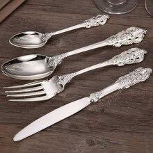 4-24pcs Luxury Silver Plated Dinnerware  Wedding Cutlery Xmas Gift Silverware Tableware Dinner Knife Fork Teaspoon Restaurant