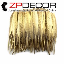 ZPDECOR 10-15cm(4-6inch)100pieces/lot Carefully Crafted  Gold Glitter Dipped MINI Duck Feather