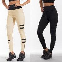 2017 Autumn New Sexy Zipper Design Yoga Pants Khaki And Black Sports Leggings Ladies Jogging Tights