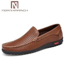NORTHMARCH Heren Instappers Echt Leer Ademend Slip-On Schoenen Mannen Mocassins Driving Heren Zapatos Hombre Casual Cuero(China)