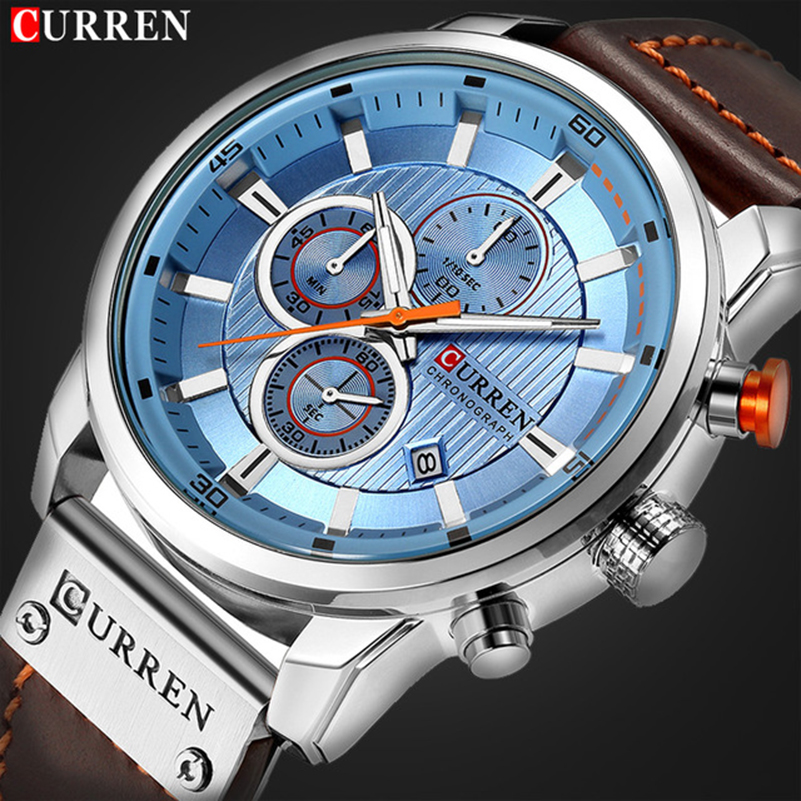 NEW CURREN Brand Luxury Men Fashion Leather Quartz Watch Mens Casual Date Business Watches Male Waterproof Clock Montre Homme brand 2017 hoodie new zipper cuff print casual hoodies men fashion tracksuit male sweatshirt off white hoody mens purpose tour