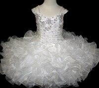Красивые Белые Дети Кекс Платье Из Органзы с Кристалл Scoop Шеи Милые Девушки Pageant Платья