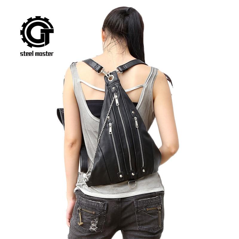 gothic steampunk visual rock triangle backpack vintage fashion man women unisex black metal zipper head fun 4 ways carry bag