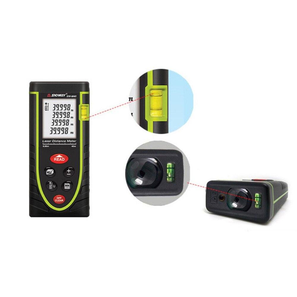 SNDWAY laser distance meter 40M 60M 80M rangefinder laser tape range finder build measure device ruler test tool With Backlight in Laser Rangefinders from Tools