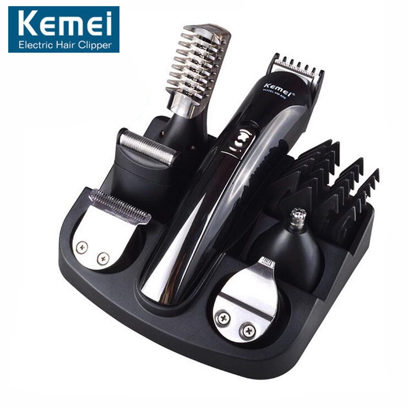 Original KM600 6 In 1 Hair Trimmer Titanium Hair Clipper Electric Shaver Beard Trimmer Men Styling Tools Shaving Machine Cutting kemei 5 in 1 rechargeable cordless hair clipper electric shaver beard trimmer men styling tools shaving machine cutting cutter