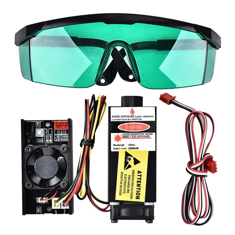10W 445nm TTL PWM Control Blue Laser Module, DC 12V Focal Adjustable Laser Head 100-240V Laser Head Engraving Module goggles